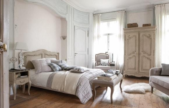 Дизайн прованской спальни с кроватью