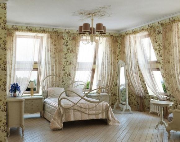 Дизайн прованской спальни с тюлью