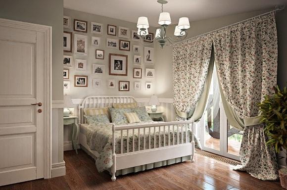 Дизайн прованской спальни с занавесками
