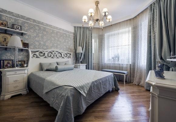 Дизайн прованской спальни серого оттенка