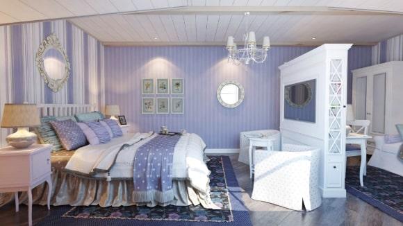 Дизайн прованской спальни сиреневого оттенка