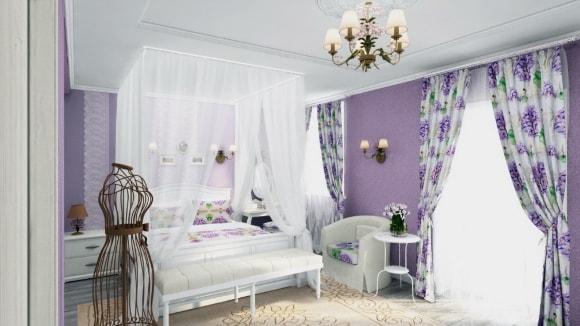 Дизайн прованской спальни со шторами