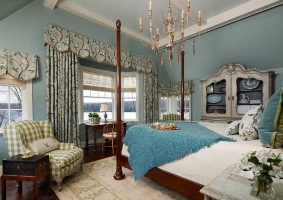Дизайн прованской спальни зеленого оттенка