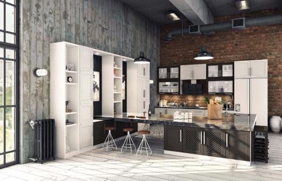 Кухня в стиле лофт из экошпона