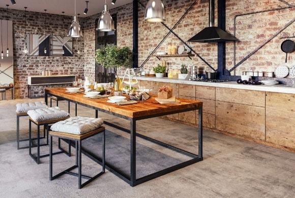 Кухня в стиле лофт из фанеры
