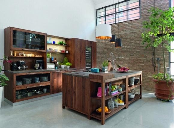 Кухня в стиле лофт из массива