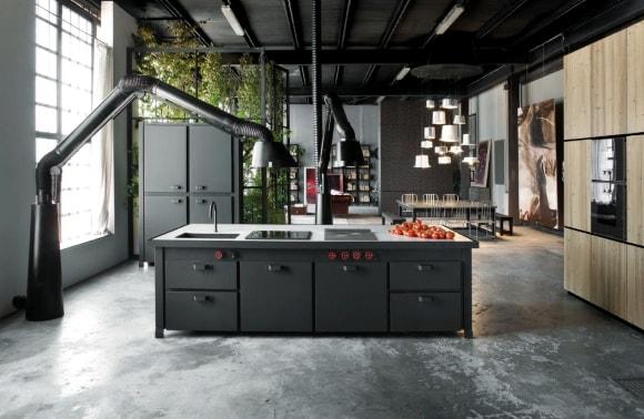 Кухня в стиле лофт из металла