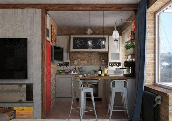 Кухня в стиле лофт в хрущевке