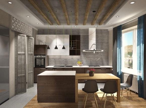 Квартира с лофтовой кухней