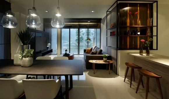 Лофт-кухня со светильниками