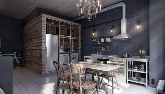 Лофт-кухня в недорогом интерьере
