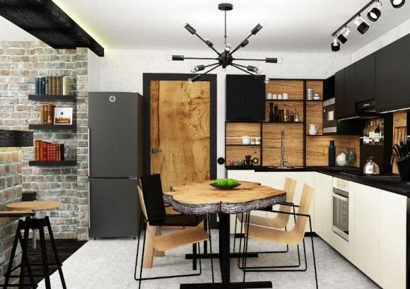 Недорогой интерьер с лофтовой кухней