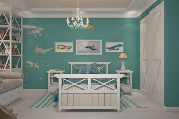 Прованская спальня бирюзового цвета