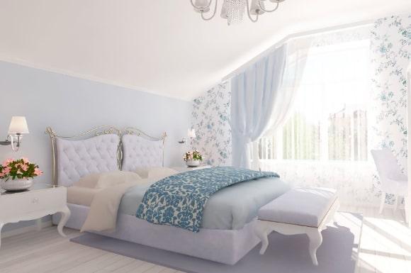 Прованская спальня голубого цвета