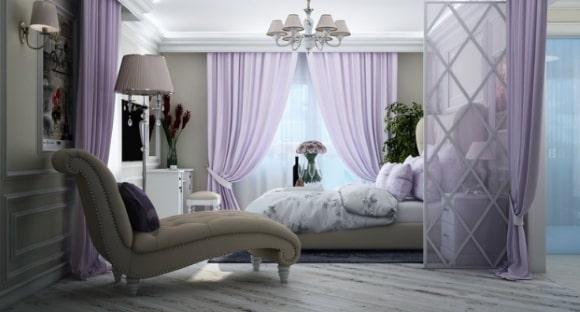 Прованская спальня лавандового цвета