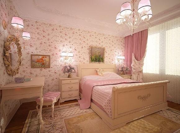 Прованская спальня розового цвета