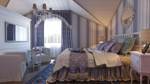 Прованская спальня сиреневого цвета