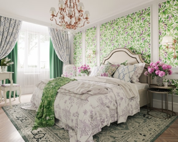 Прованская спальня со шторами