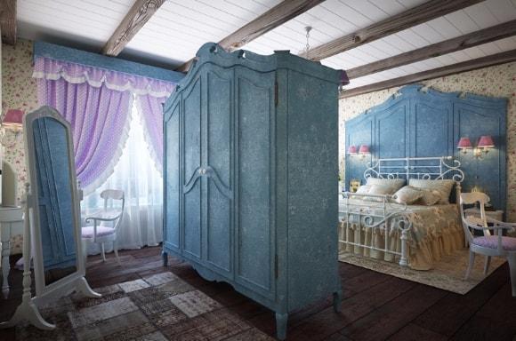 Спальня в стиле прованс с тюлью