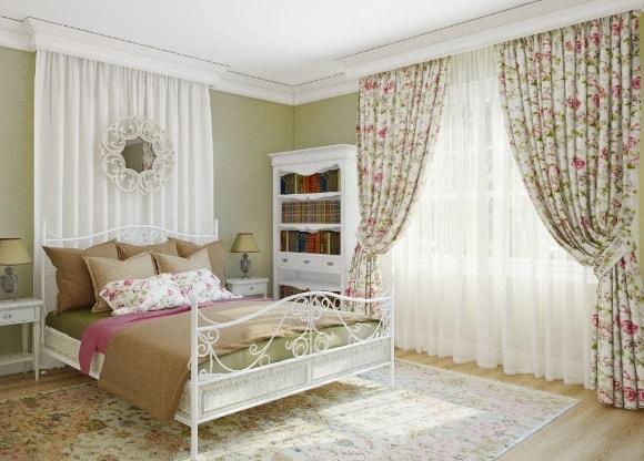 Спальня в стиле прованс с занавесками