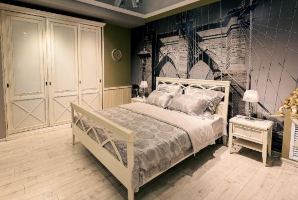 Спальня в стиле прованс со шкафом-купе