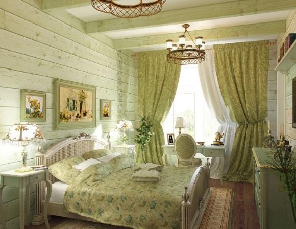 Спальня в стиле прованс со шторами