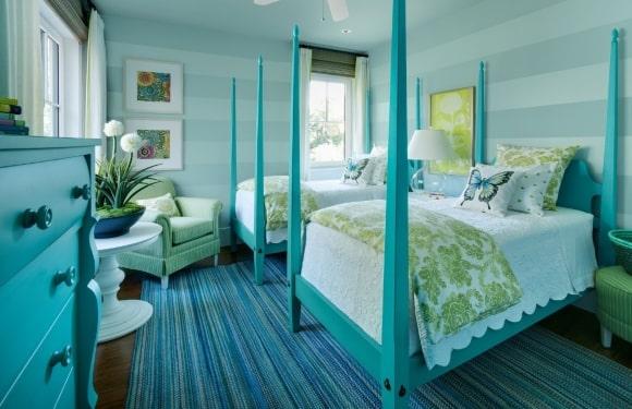 Спальня в стиле прованс в бирюзовых тонах