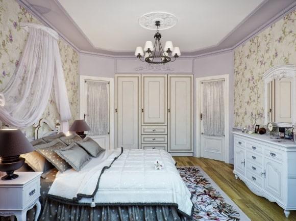 Спальня в стиле прованс в лавандовых тонах