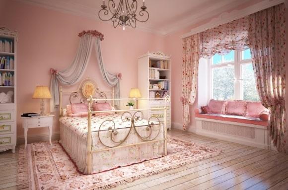 Спальня в стиле прованс в розовых тонах