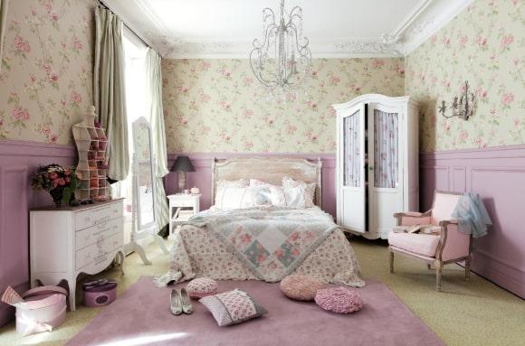Спальня в стиле прованс в сиреневых тонах