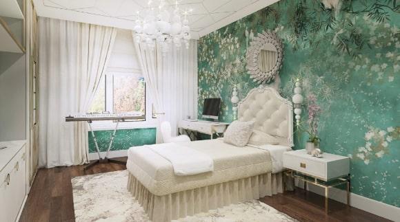 Спальня в стиле прованс в зеленых тонах