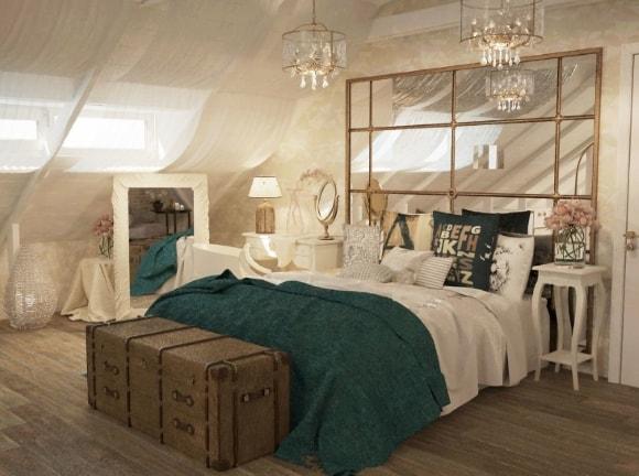 Дизайн прованской спальни на мансарде