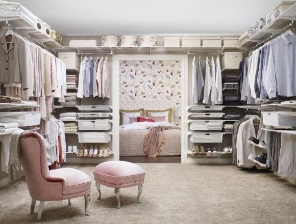 Дизайн прованской спальни, совмещенной с гардеробом