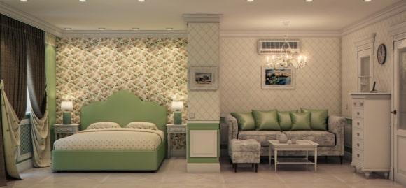 Дизайн прованской спальни, совмещенной с гостиной