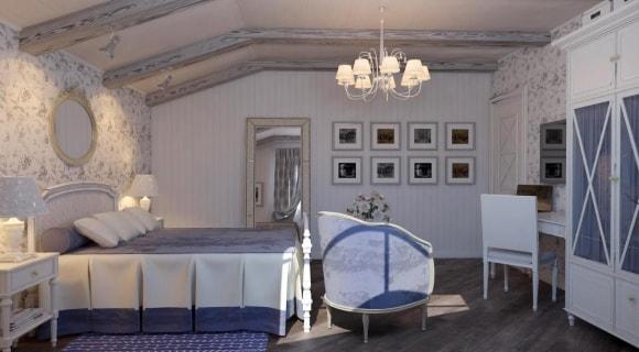 Дизайн прованской спальни, совмещенной с кабинетом