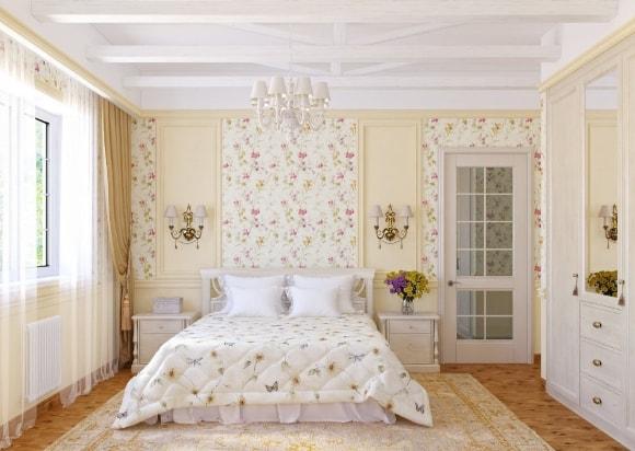 Прованская спальня с обоями