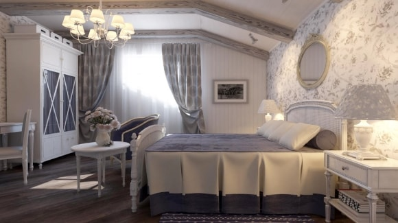 Прованская спальня с потолками