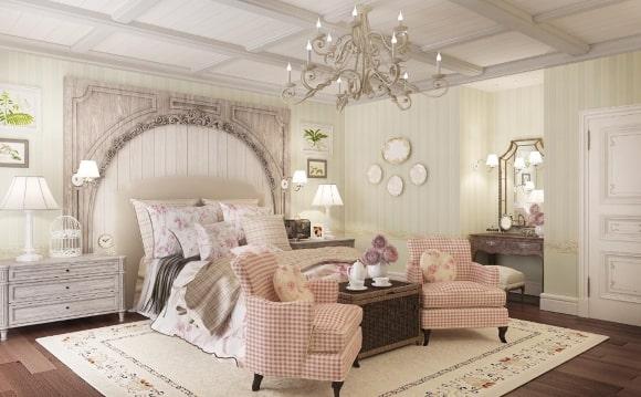 Прованская спальня, совмещенная с гостиной