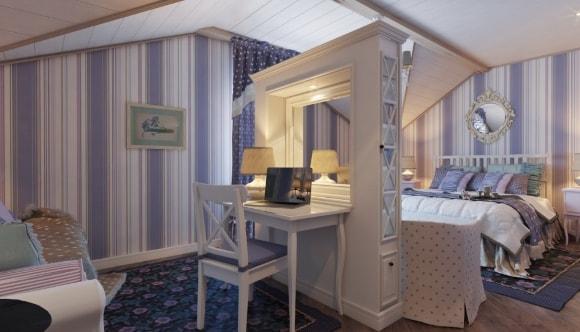 Прованская спальня, совмещенная с кабинетом