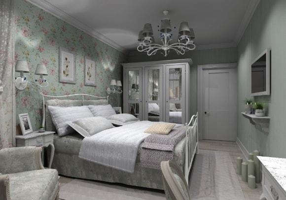 Спальня, отделанная в стиле прованс с бра