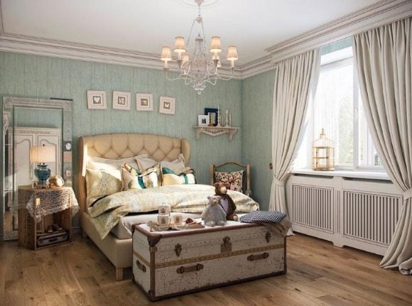 Спальня, отделанная в стиле прованс с картиной