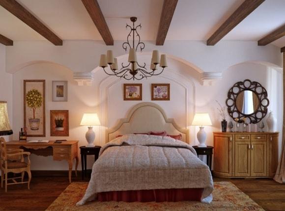 Спальня, отделанная в стиле прованс с потолками