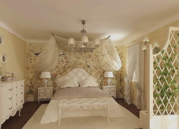 Спальня, отделанная в стиле прованс со светильниками