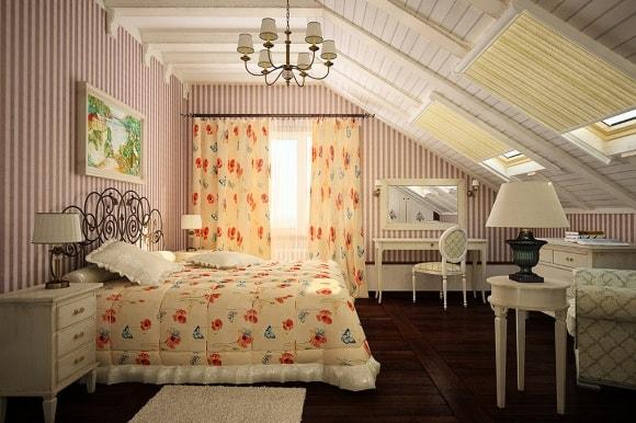 Спальня в стиле прованс на мансарде