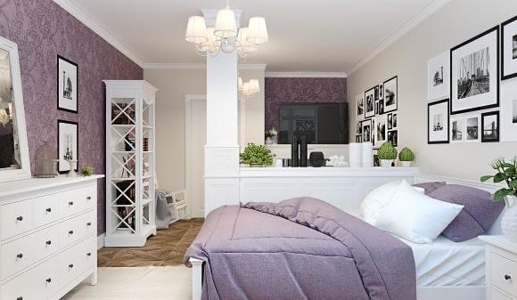 Спальня в стиле прованс, совмещенная с гостиной