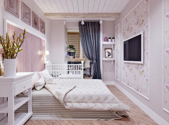 Спальня в стиле прованс, совмещенная с кабинетом